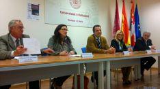 Pascual (izda.), Heredia, Bonilla, García y Mata, esta tarde en el Campus.