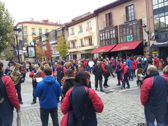 Seguidores de Osasuna en la Plaza de Herradores