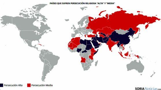 Mapa de la Iglesia perseguida en el mundo.