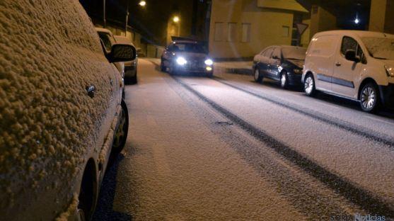 Una de las calles de la capital soriana durante la nevada. / SN