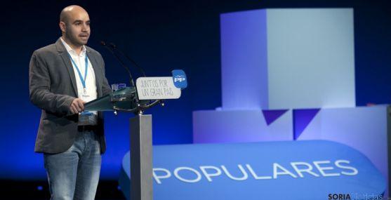 Matías Ágreda, en su intervención en la convención popular en Madrid.