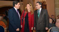 Martínez Izquierdo (izda.), Silvia Capdevila y Anselmo García, este lunes en Soria. / SN