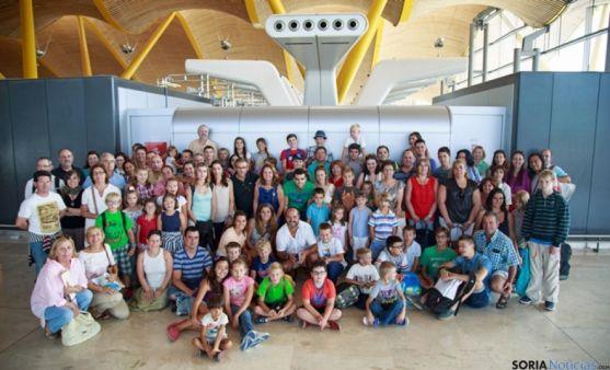 Despedida a los niños ucranianos de 'Ven con Nosotros', en Barajas el agosto pasado.