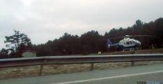 El helicóptero en las cercanías de Mojón Pardo. / SN