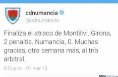 Tweet de la cuenta oficial del Numancia.