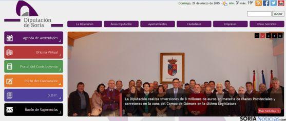 Portada de la web de la Diputación.