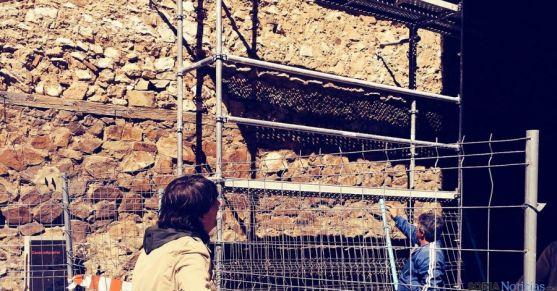 Andamiaje en la muralla del Vergel. / Ayto.