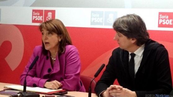 Soraya Rodríguez en la sede del PSOE de Soria