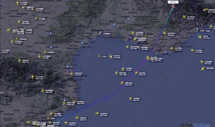 Trayecto del trágico vuelo del avión.