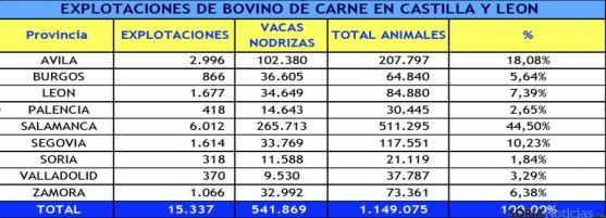 Distribución del vacuno de carne en la región.
