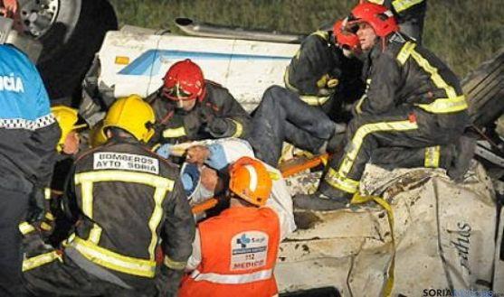 Actuación de los bomberos en Soria