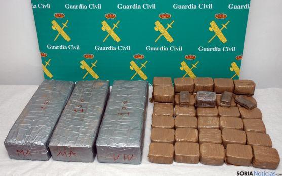 La droga incautada por los agentes de la Comandancia de Soria. / Subdeleg.