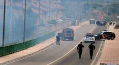 Imagen del incendio frente a la estación de RENFE. / SN