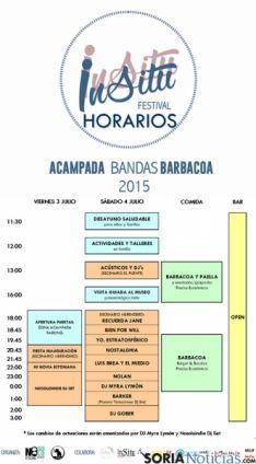 El cartel con los horarios de conciertos y actividades