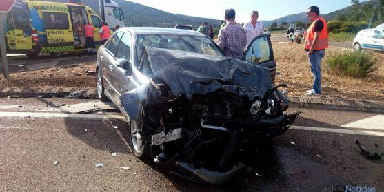 Vehículo implicado en un accidente en Ólvega hace escasas fechas. / SN