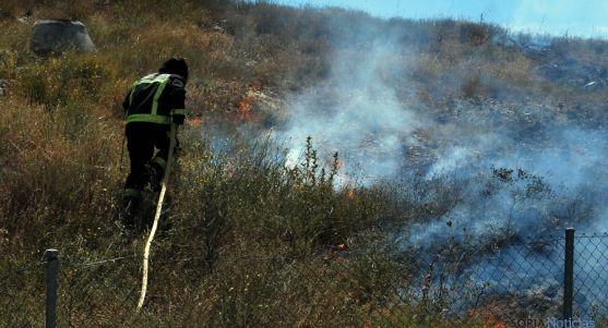 Un bombero apagando un fuego forestal en Soria. / SN