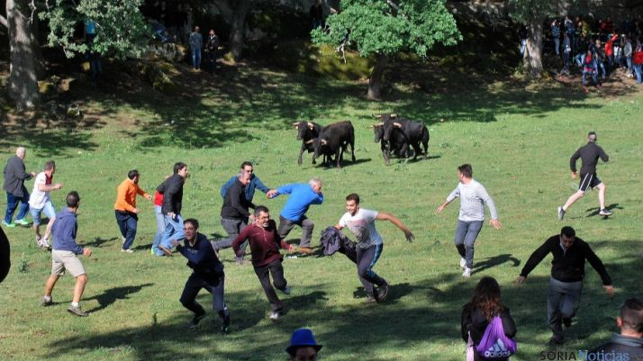 Los mozos tras un arreón de la manada este domingo. / SN