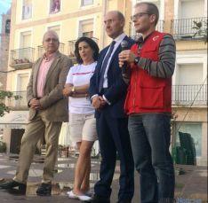 Fernández (izda.), Marquina, Alonso y Martínez, en Ágreda. / SN