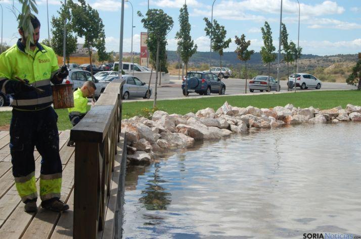 Trabajos realizados en la pérgola del estanque de La Tejera. Ayto