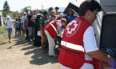 Cruz Roja Serbia en sus labores de acogida.
