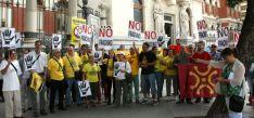 Miembros de las plataformas antifrácking en Madrid.