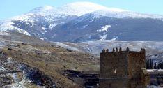 Vista invernal del Moncayo en Ágreda.