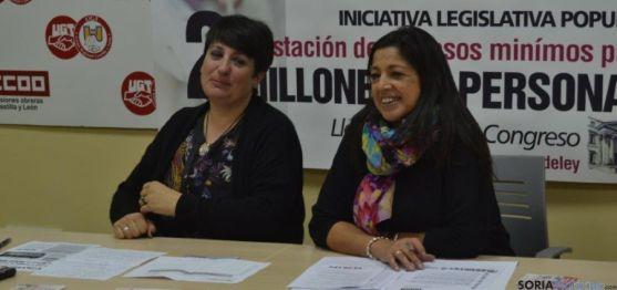 Ana Romero, de CCOO, y Marisa Ajenjo, de UGT