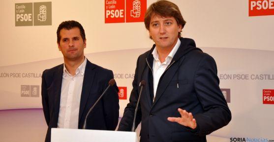 Mínguez, (dcha.) y Tudanca, este jueves en Valladolid. / PSOE