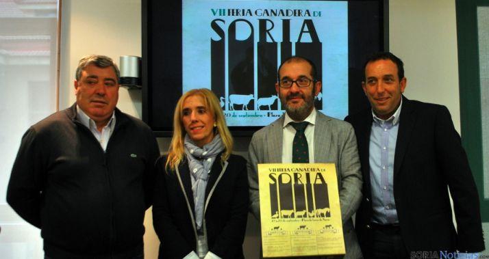 Gonzalo, (izda.), Valdenebro, Palomar y Lozano en la presentación de la feria./SN