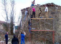 Labores en la iglesia de Sarnago.