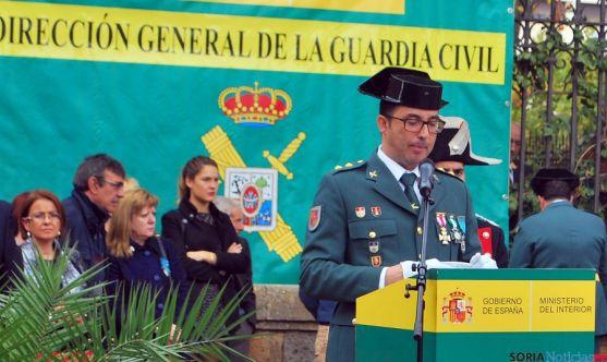 El teniente coronel Andrés M. Velarde, en su alocución en Soria. / SN