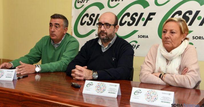 Prieto (izda.), Borra y Martínez, este lunes en Soria. / SN