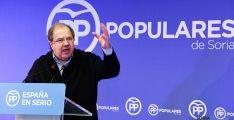 Juan Vicente Herrera, este sábado en el mitin del PP en Soria. / SN