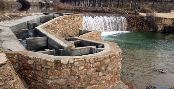 Imagen de las labores concluidas en la presa del río Ucero. / Subdeleg