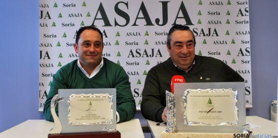 Carmelo Gómez (dcha.) y David Hernández, este miércoles en la sede de ASAJA Soria. / SN