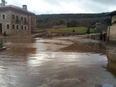 Cauce del río desbordado en Salduero y Covaleda