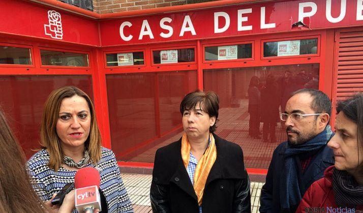 Barcones (izda.), García y Rey, este sábado en Soria. / PSOE