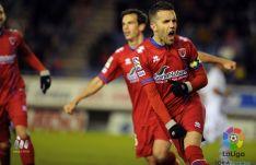 Julio Álvarez celebra uno de sus goles frente al Mallorca.
