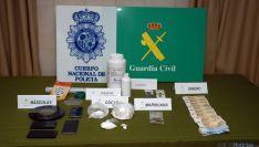 Dorga y material incautado en la operación 'Polvorín-Tronera'. / Subdeleg.