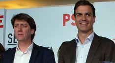 Martínez (izda.) en la visita de Pedro Sánchez a Soria el pasado abril. / SN