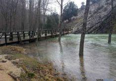 Puente de acceso en el límite del coto de pesca