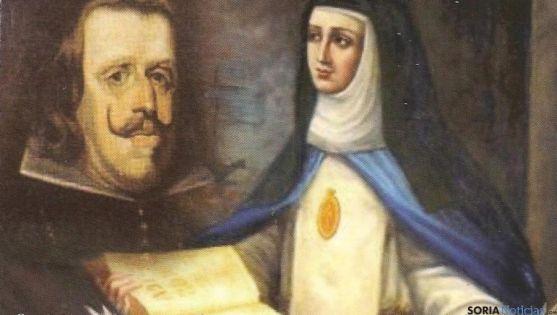 Lienzo de Sor María de Jesús y el rey Felipe IV.