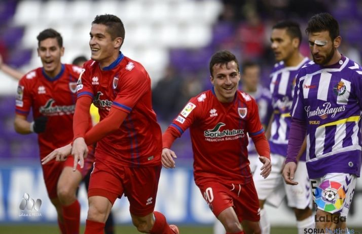 Pedraza celebra su gol, que suponía el 1-2 en el marcador.