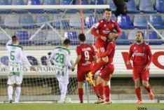 David Concha celebra el gol del empate del Numancia.