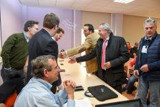 Llegada de De Miguel y Lozano a la reunión. /Ana Isla