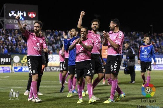 Los jugadores tinerfeños celebran su triunfo en Leganés.