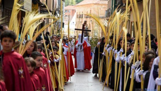 La procesión de 'La Borriquilla', en la capital este domingo. / SN