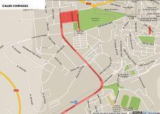 Mapa con las calles cortadas de la ciudad