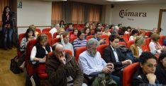 Imagen del salón de actos de la Cámara de Comercio este martes. / SN