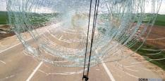 Estado del cristal del autobús./navarra.com